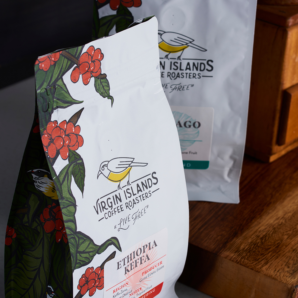 Virgin Islands Coffee Roasters Close Up of Packaging Design
