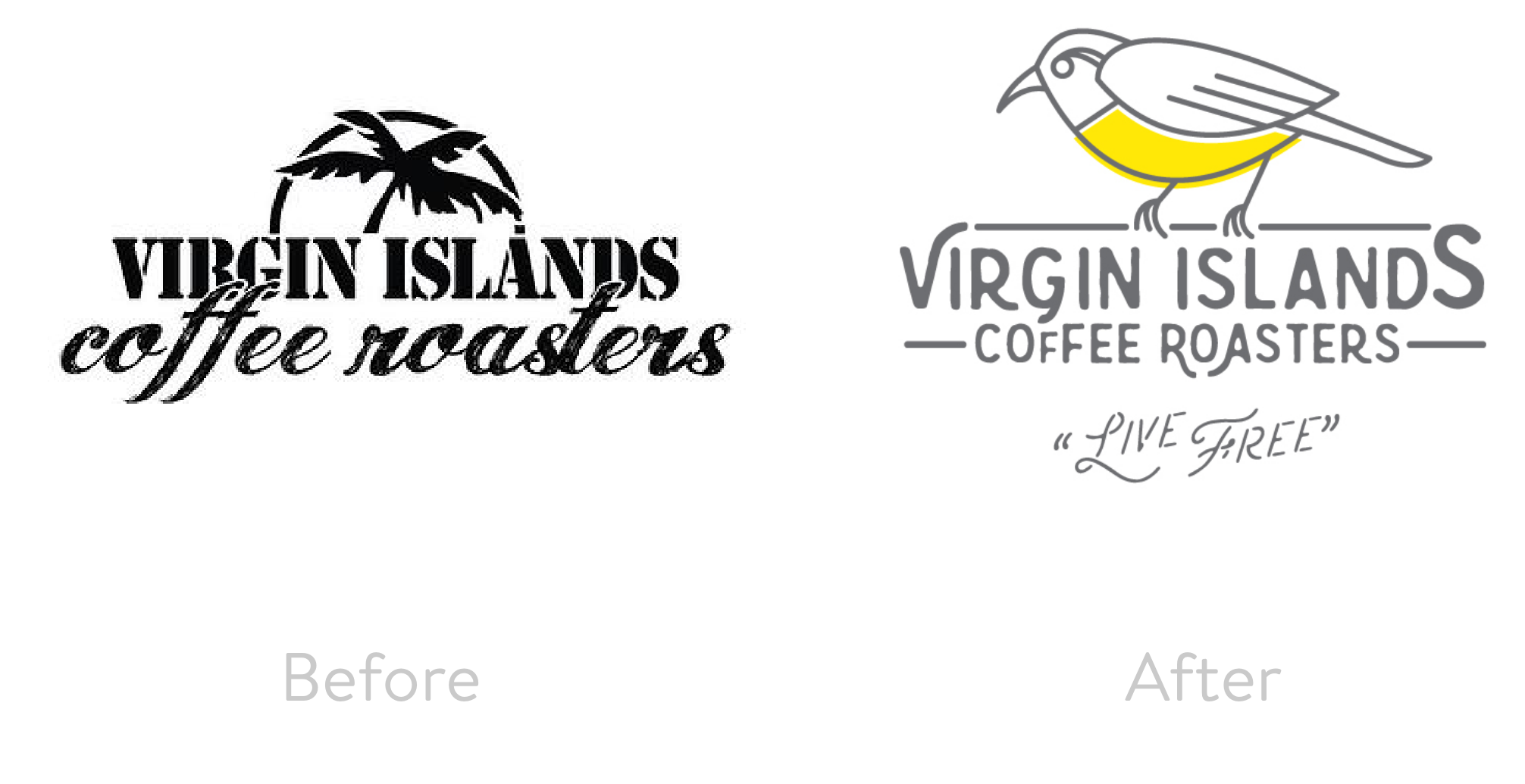Virgin Islands Coffee Roasters Before and After Logos
