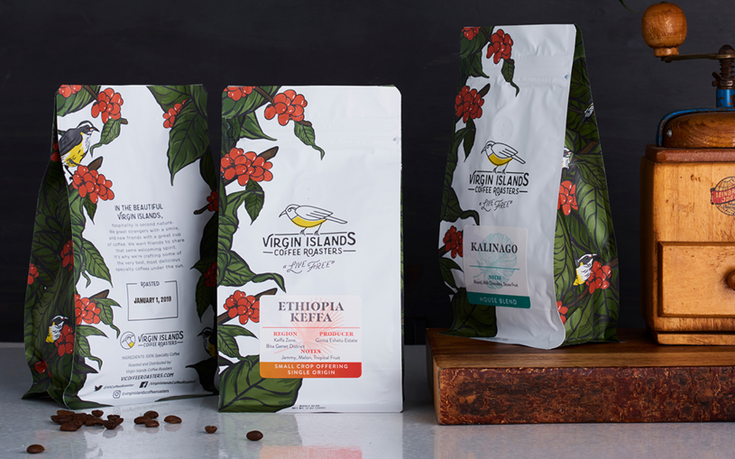Virgin Islands Coffee Roasters Packaging Design