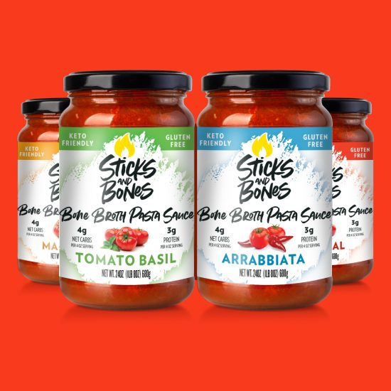 Sticks and Bones Bone Broth Pasta Sauce All Flavors Packaging Design